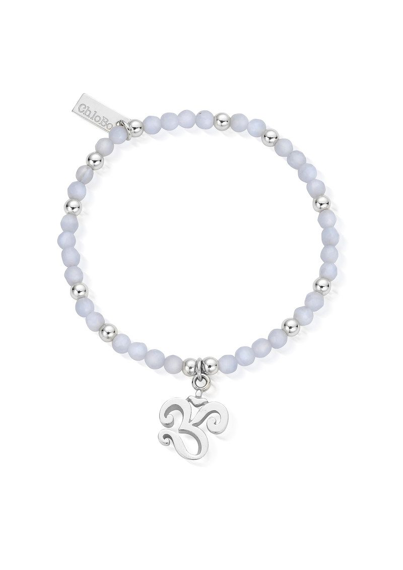 ChloBo Chunky Om Bracelet - Silver & Blue Lace Agate main image