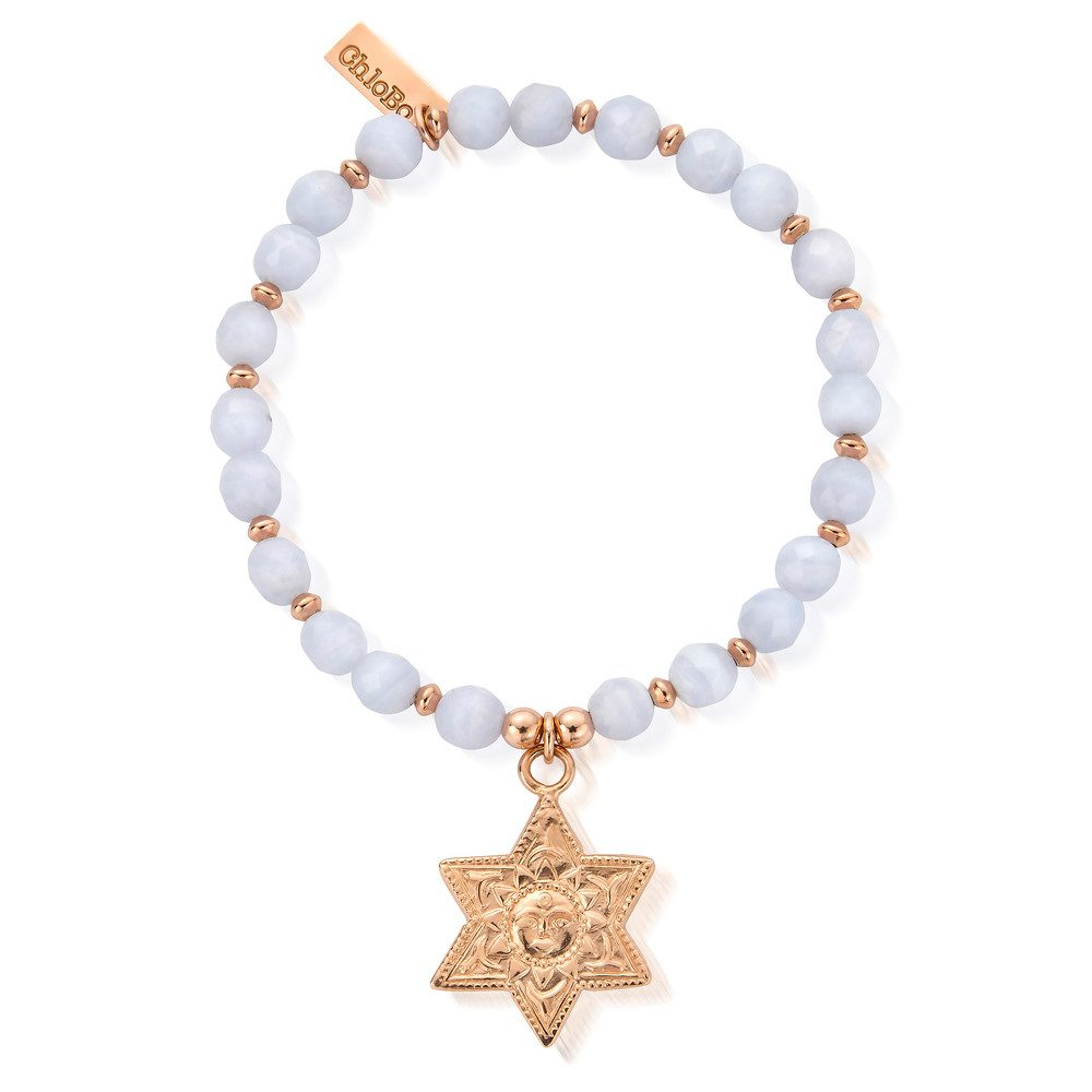 Sun & Star Bracelet - Rose Gold & Blue Lace Agate