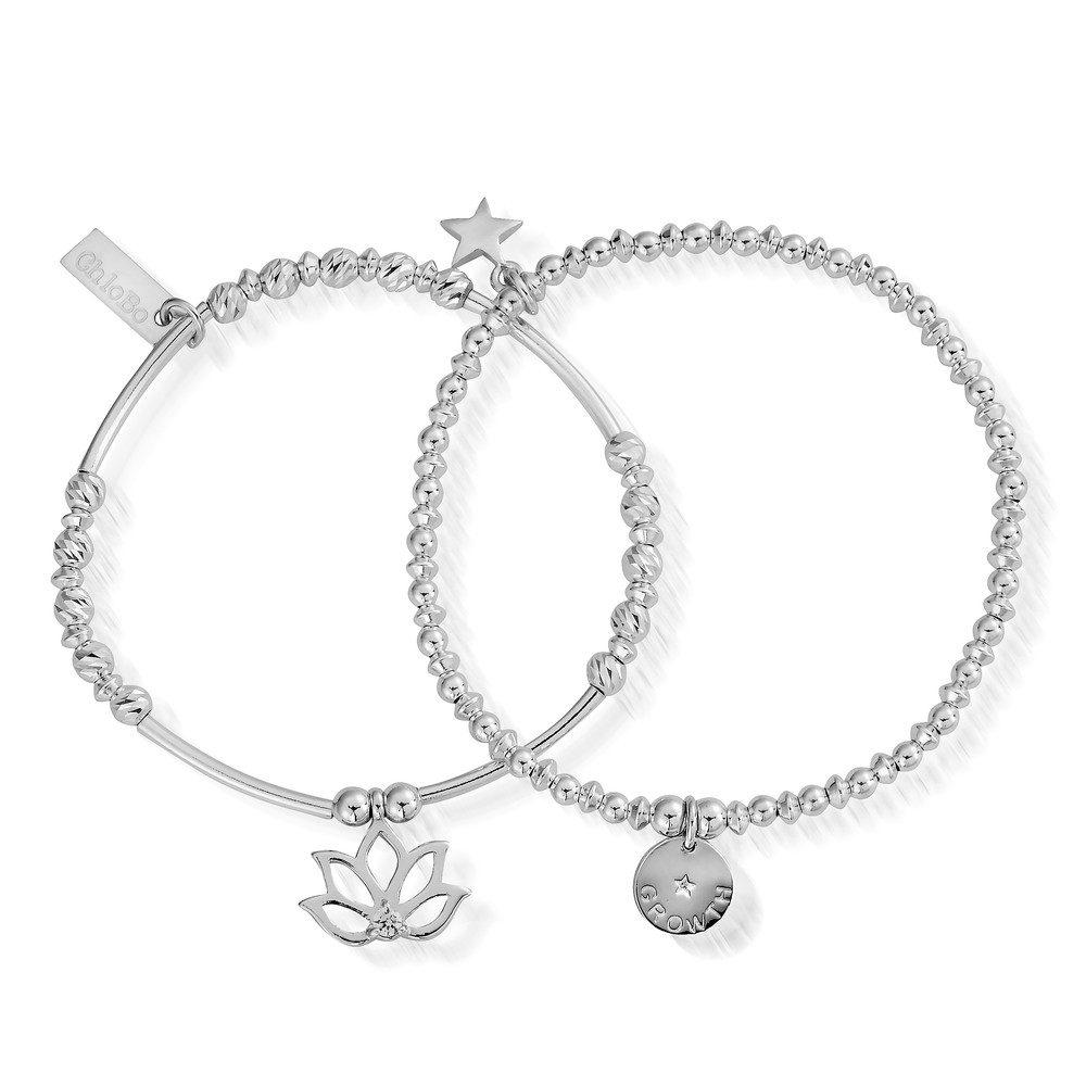 Lotus Set of 2 Bracelets - Silver
