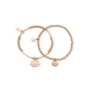 Lotus Set of 2 Bracelets - Rose Gold