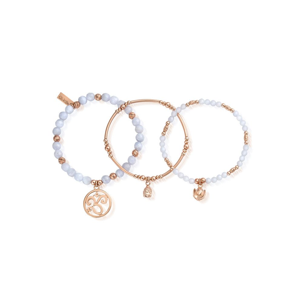 Tranquility Stack of 3 - Rose Gold & Blue Lace Agate