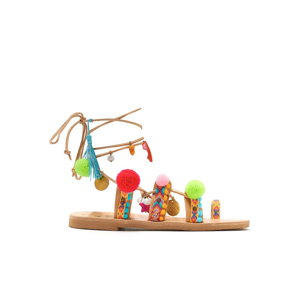 Misty Pom Pom Wrap Sandals - Multi