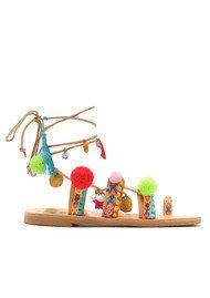 MABU Misty Pom Pom Wrap Sandals - Multi