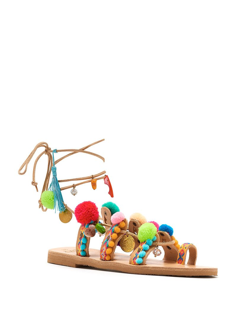 MABU Misty Pom Pom Wrap Sandals - Multi main image