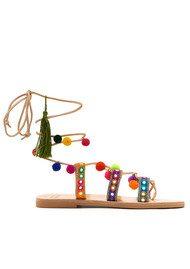 MABU Ida Pom Pom Wrap Sandals - Multi