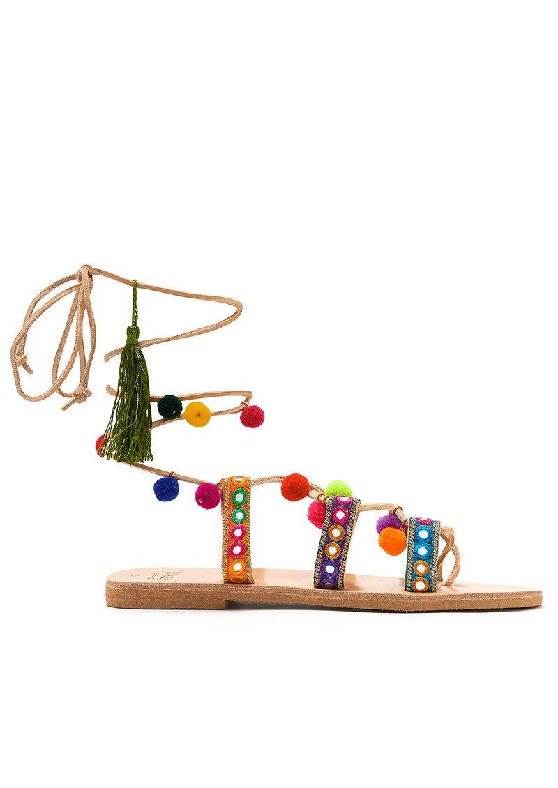 MABU Ida Pom Pom Wrap Sandals - Multi main image