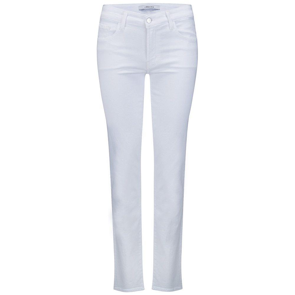 Amelia Mid Rise Straight Leg Jeans - White