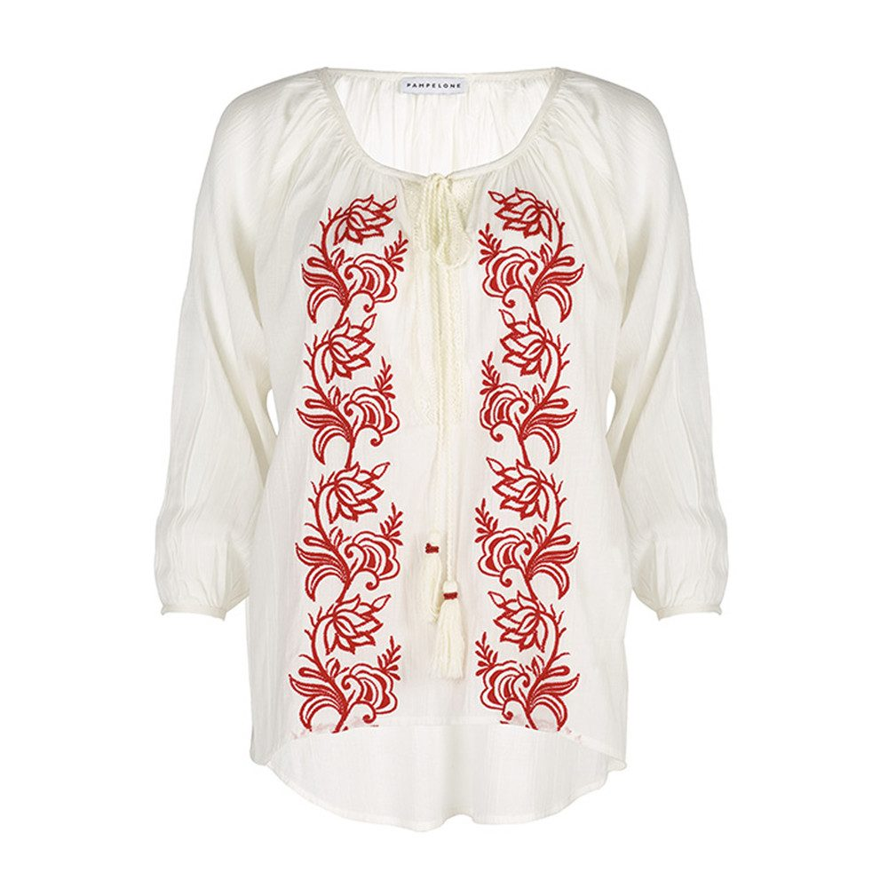 Graniers Blouse - White & Red