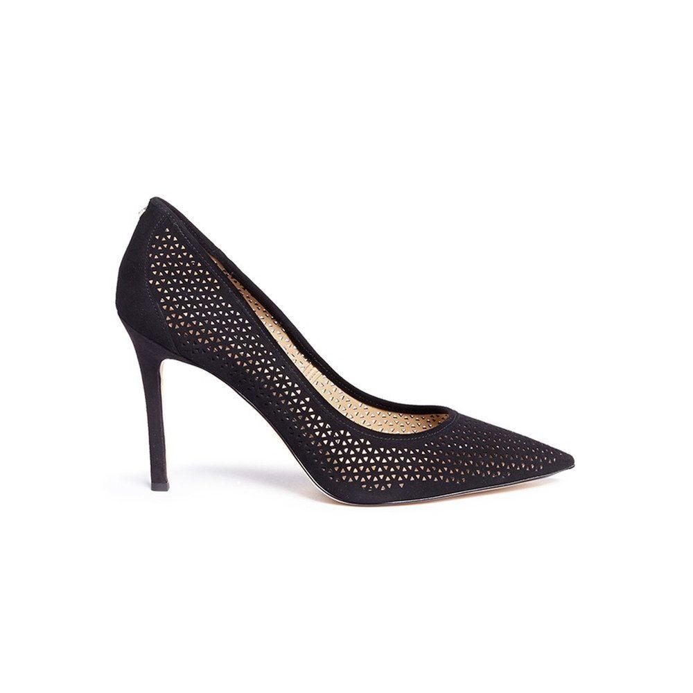 Hazel Laser Cut Heel - Black