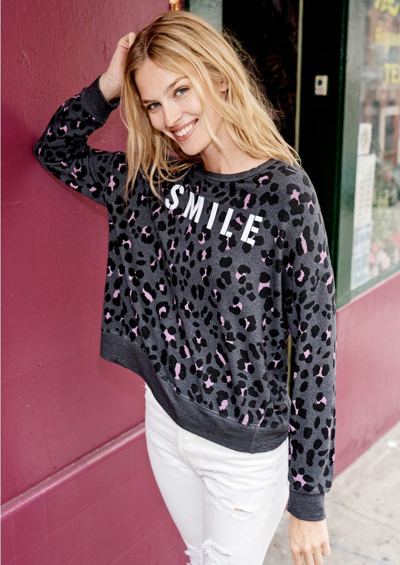 SUNDRY Crossback Smile Sweater - Charcoal Grey main image