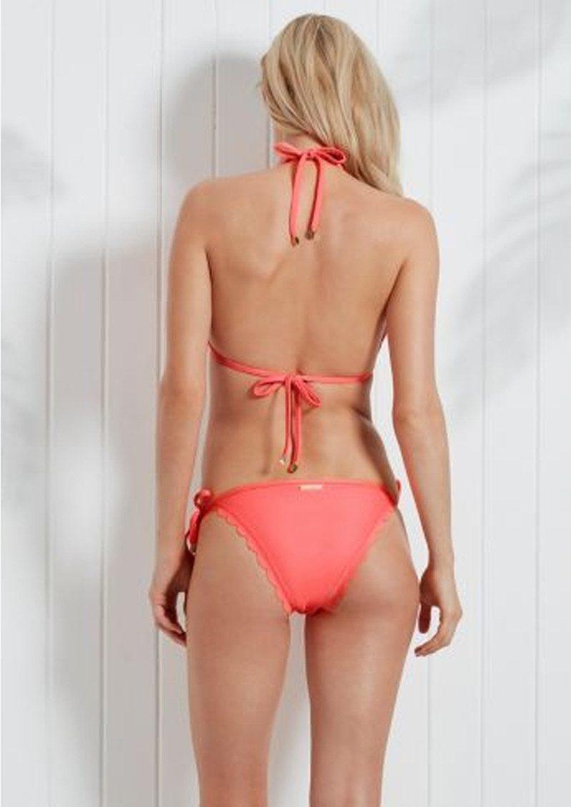 HEIDI KLEIN Capri Scallop Bikini Bottoms - Neon Coral main image