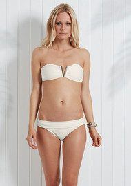 HEIDI KLEIN Cote D'Azur Fold Over Bikini Bottoms - Cream