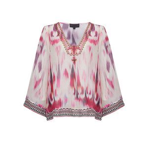Zahara Silk Embellished Tunic - Red
