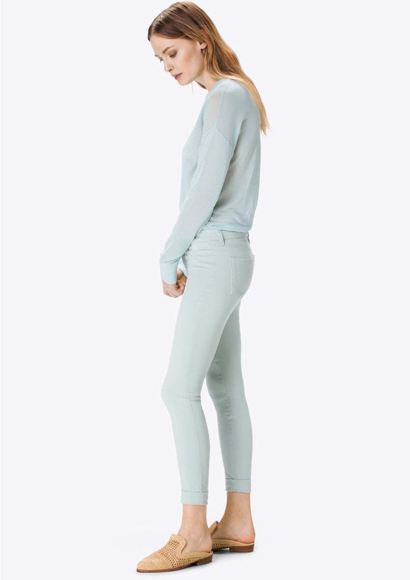 Anja Clean Cuffed Crop Jeans - Pale Lichen main image