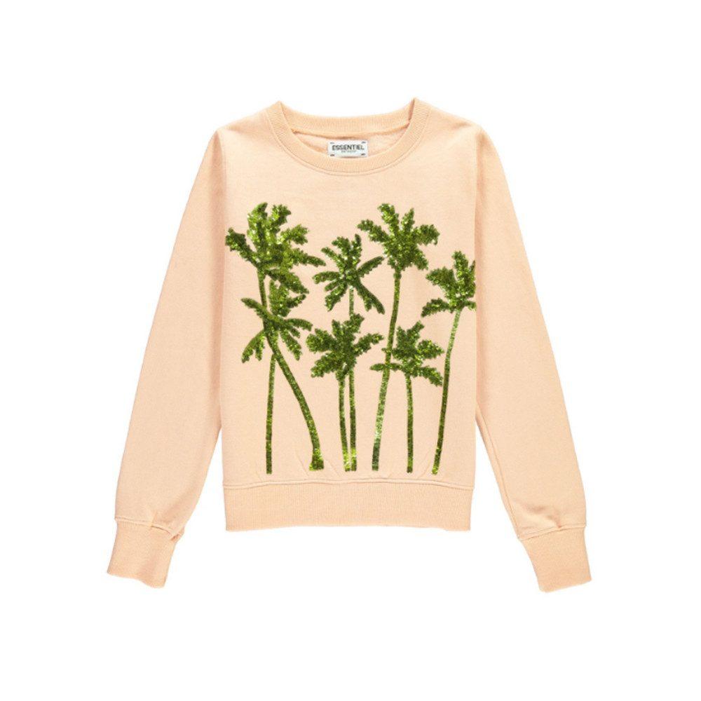 Naono Palm Tree Sequin Sweatshirt - Blush