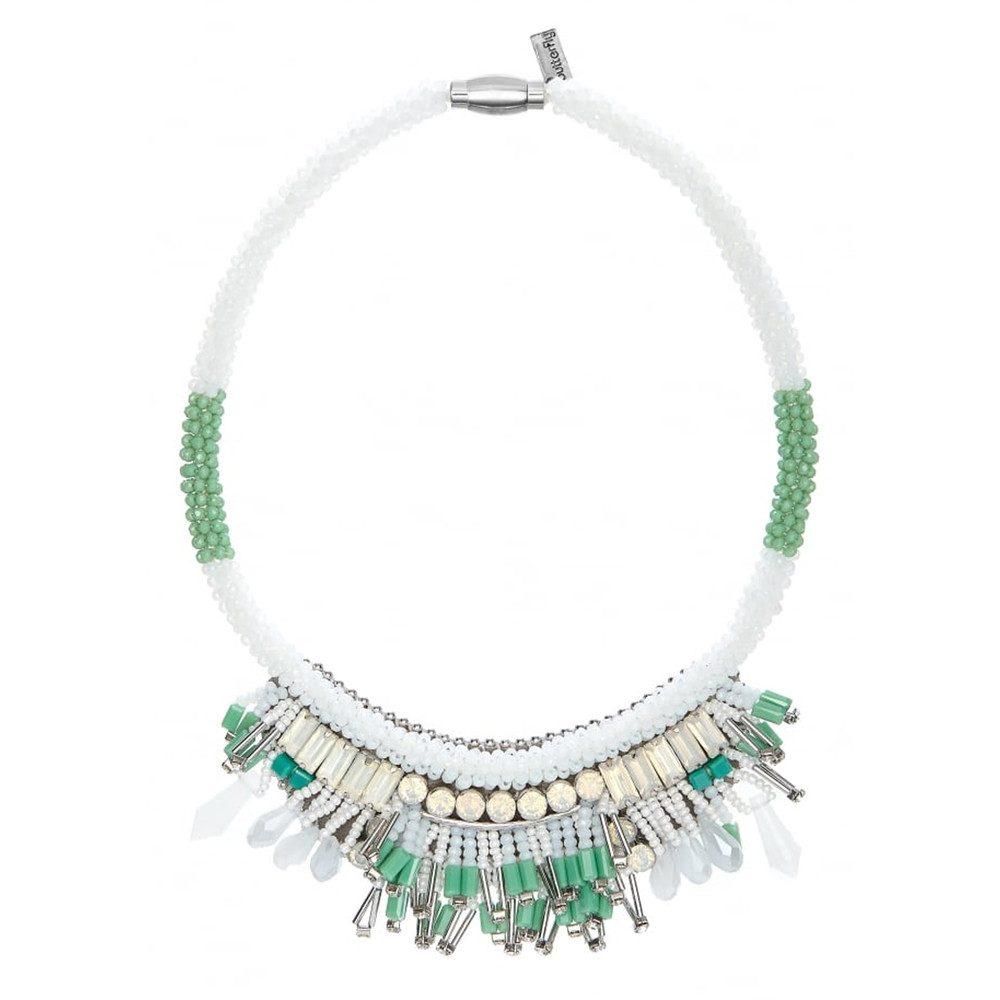 Mayfair Short Necklace - Light Green & White