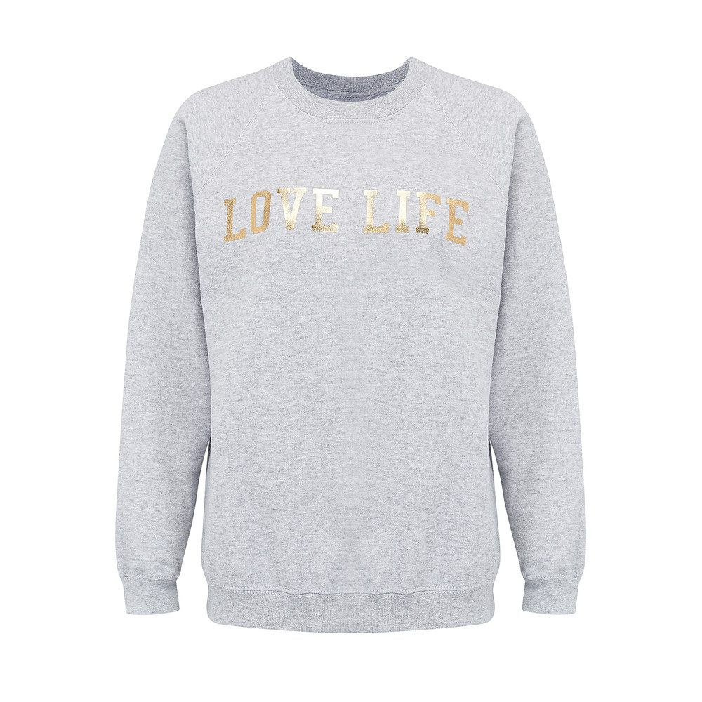 'Love Life' Sweatshirt - Grey & Gold