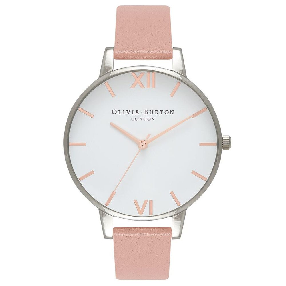 Big Dial White Dial Watch - Dusty Pink, Silver & Rose Gold