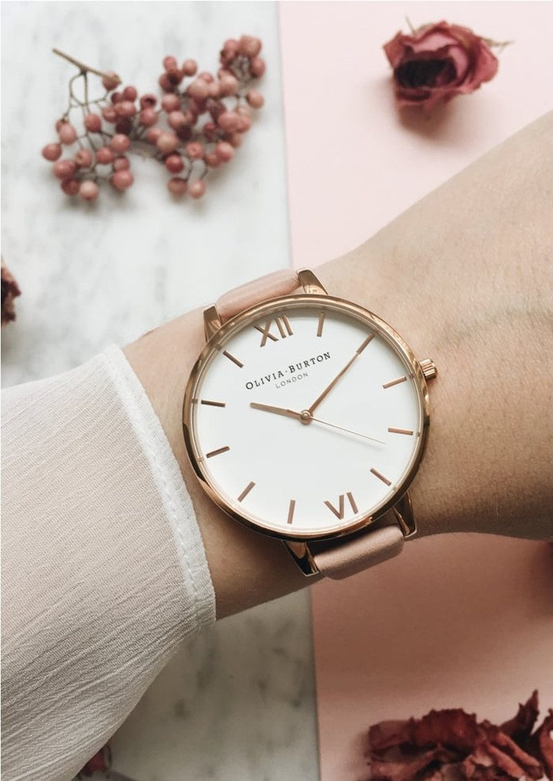 Olivia Burton Big Dial White Dial Watch - Dusty Pink, Silver & Rose Gold main image