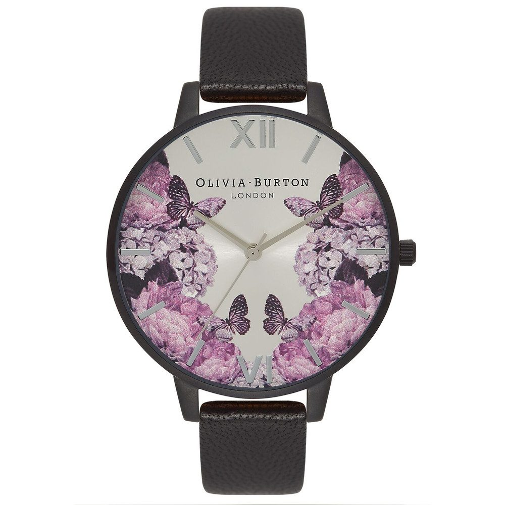 After Dark Floral Watch - Matte Black & Silver
