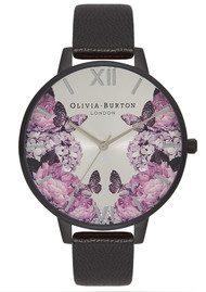 Olivia Burton After Dark Floral Watch - Matte Black & Silver