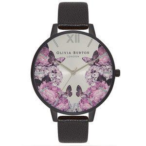 After Dark Floral Watch - Matte Black & Silver