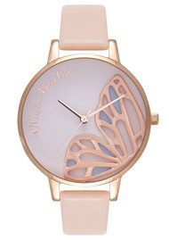 Olivia Burton Embroidered Butterfly Watch - Nude Peach & Rose Gold