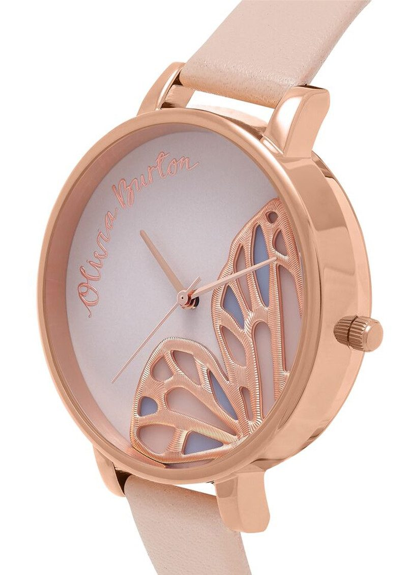 Embroidered Butterfly Watch - Nude Peach & Rose Gold main image