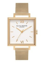 Olivia Burton Big Square Dial Watch - Gold Mesh
