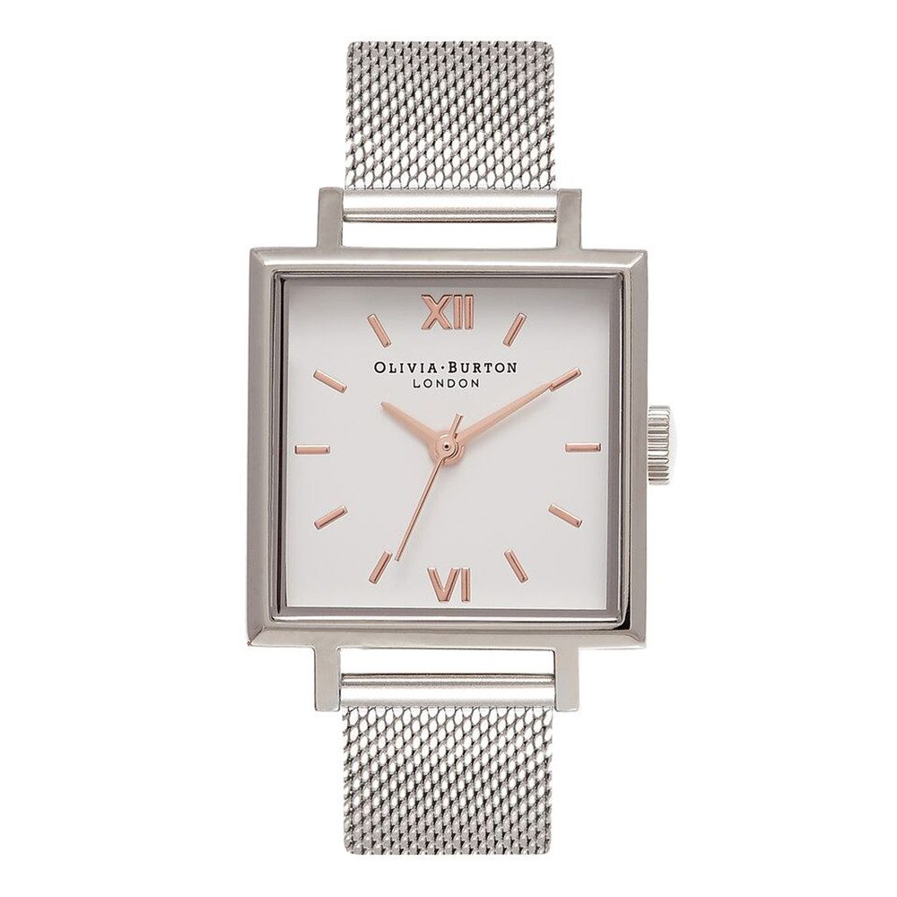Big Square Dial Watch - Silver Mesh