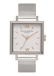 Olivia Burton Big Square Dial Watch - Silver Mesh