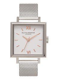 Olivia Burton Big Square Dial Watch - Silver Mesh