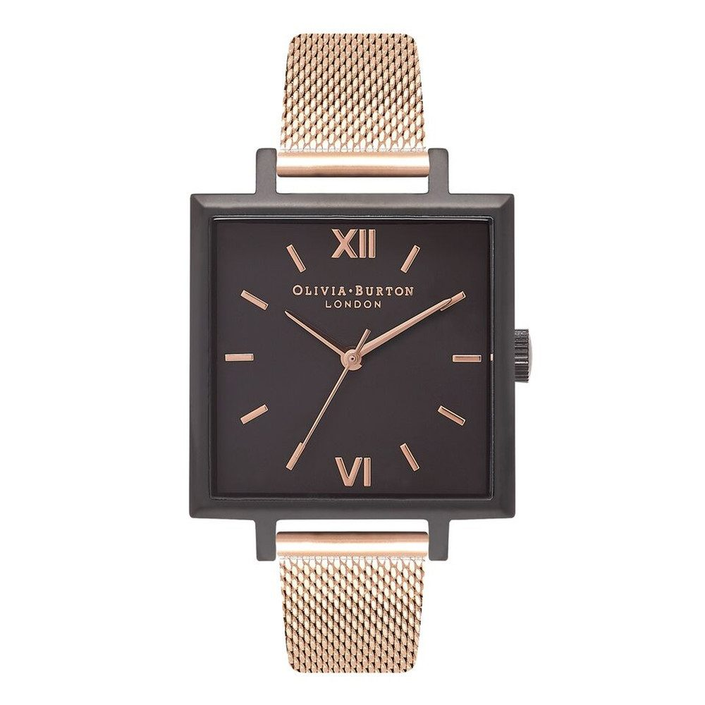 Big Square Dial Watch - Matte Black & Rose Gold Mesh
