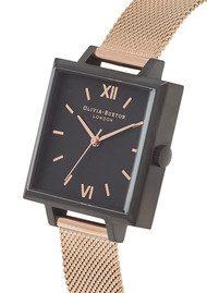 Olivia Burton Big Square Dial Watch - Matte Black & Rose Gold Mesh