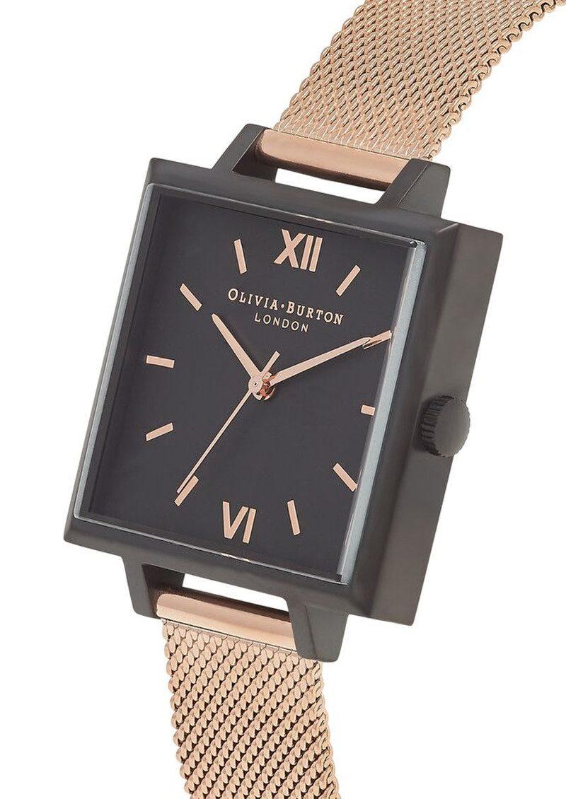 Olivia Burton Big Square Dial Watch - Matte Black & Rose Gold Mesh main image