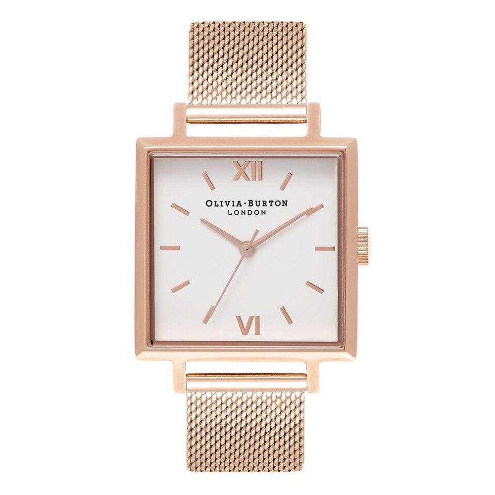 Big Square Dial Watch - Rose Gold Mesh