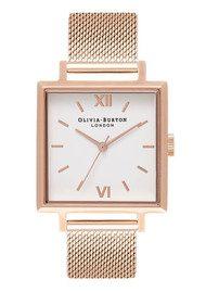 Olivia Burton Big Square Dial Watch - Rose Gold Mesh