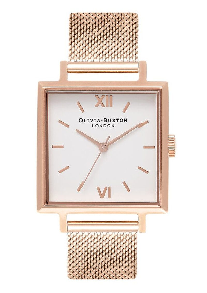 Big Square Dial Watch - Rose Gold Mesh main image