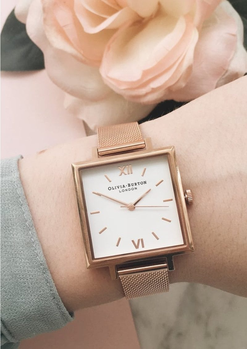 Olivia Burton Big Square Dial Watch - Rose Gold Mesh main image