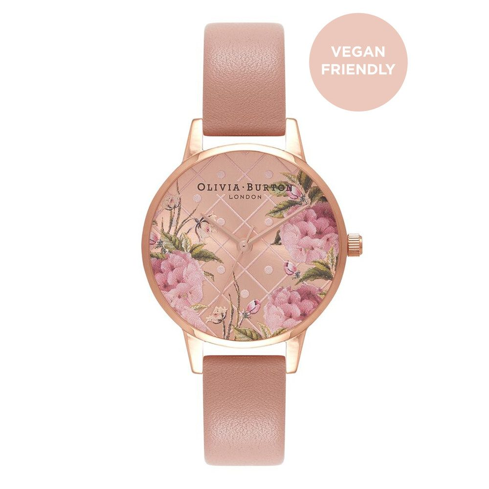 Vegan Friendly Floral Midi Dial Watch - Rose Sand & Rose Gold