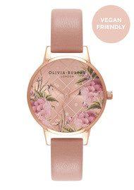 Olivia Burton Vegan Friendly Floral Midi Dial Watch - Rose Sand & Rose Gold
