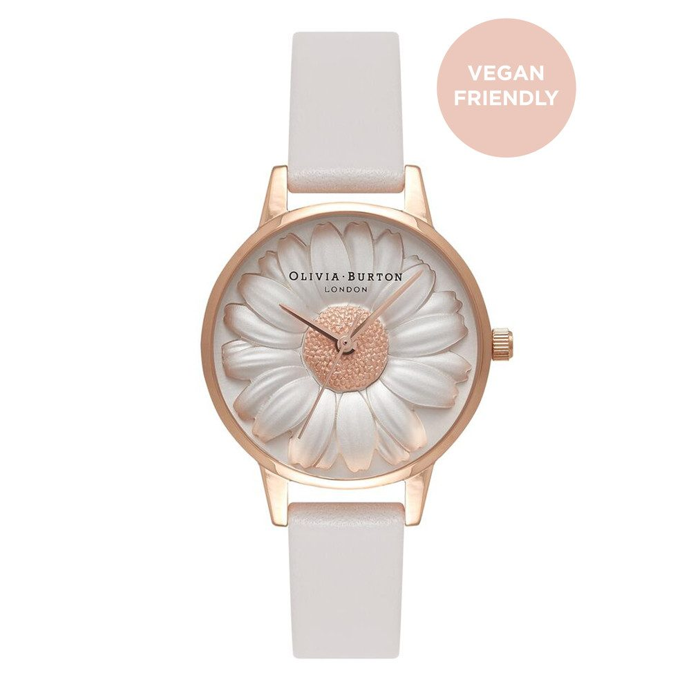 Vegan Friendly Midi Moulded Daisy Watch - Grey & Rose Gold