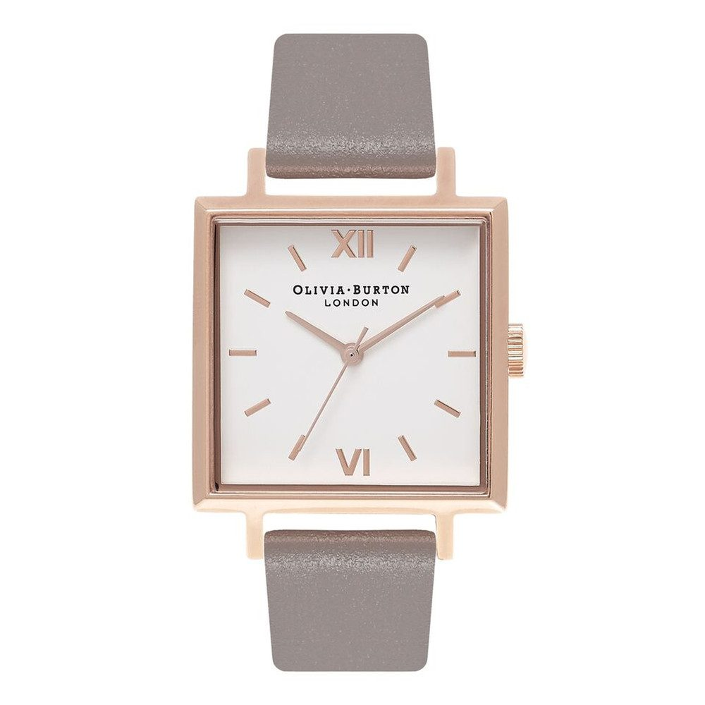 Big Square Dial Watch - London Grey & Rose Gold