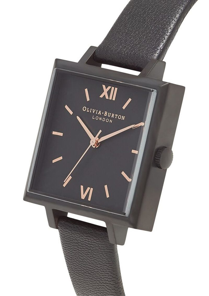 Olivia Burton Big Square Dial Watch - Matte Black & Black main image