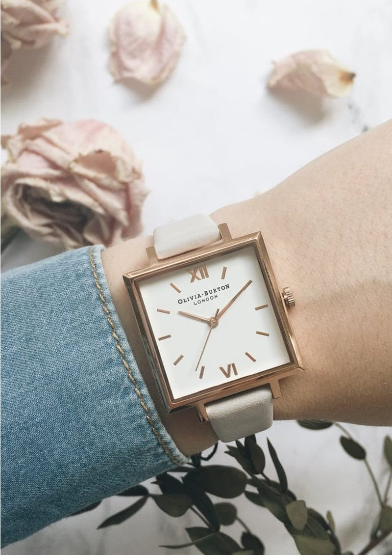 Olivia Burton Big Square Dial Watch - Blush & Rose Gold main image