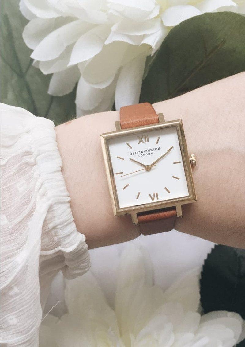 Olivia Burton Big Square Dial Watch - Tan & Gold main image