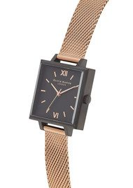 Olivia Burton Midi Square Dial Watch - Matte Black & Rose Gold Mesh