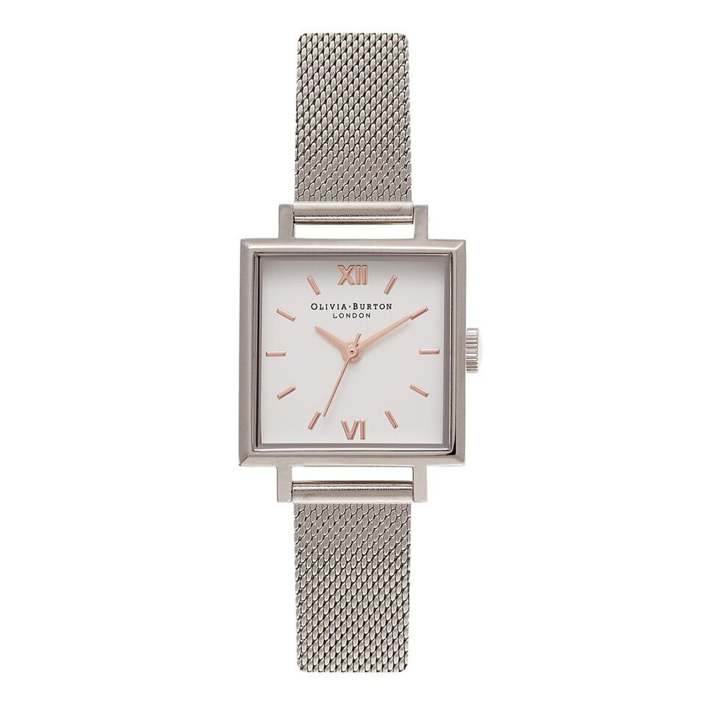 Midi Square Dial Watch - Silver Mesh