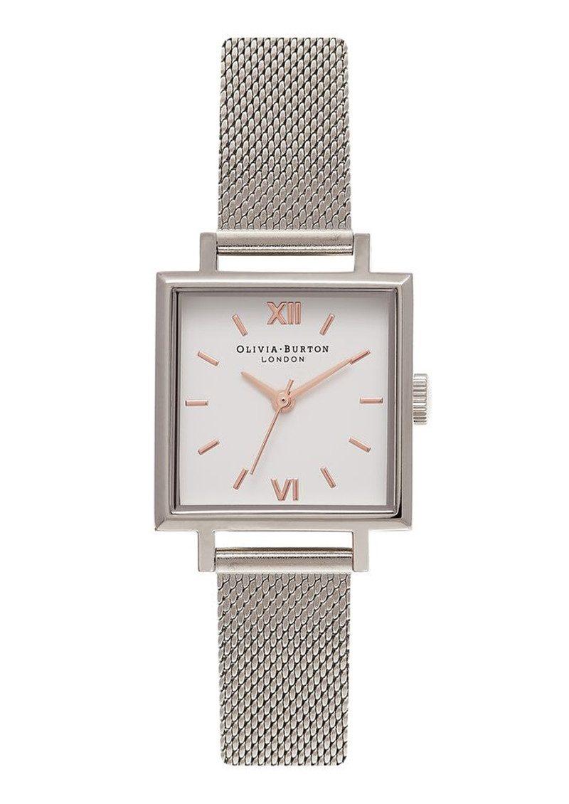 Olivia Burton Midi Square Dial Watch - Silver Mesh main image