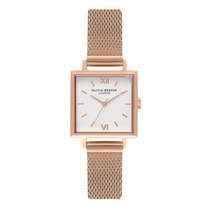 Midi Square Dial Watch - Rose Gold Mesh